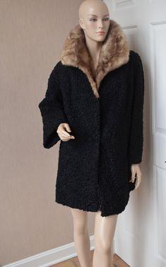 Beautiful Curly Persian Lamb Stroller Swing Coat Mink Collar L/XL Alaskan Furs Fits Medium to X Large 1950's 1960's by luvkitsch on Etsy Vintage Fur, Vintage Clothing, Vintage Outfits, Swing Coats, Fur Coats, Black Silk, Furs, Mink, Lamb