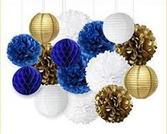 Image result for gold and navy blue party decorations