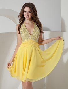 Yellow V-Neck Halter Beading Chiffon Homecoming Dress - Free shipping for all