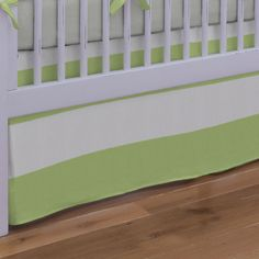 """Crib Bedding Skirt in Kiwi and Gray Winston by Carousel Designs.  Get your crib picture perfect with our straight crib skirt. Finished length approximately 13-14 inches. Fits standard cribs using mattresses measuring approximately 28"""" x 52""""."""