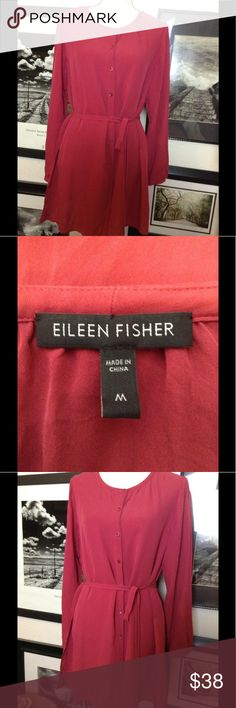 """Eileen Fisher silk button down Button front silk tunic style blouse, with self tie and tie loops, long sleeve with button cuff. Measures 20 1/2""""across front chest seam to seam by 32"""" length shoulder to hem Eileen Fisher Tops Button Down Shirts"""