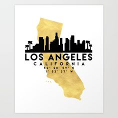 LOS ANGELES CALIFORNIA SILHOUETTE SKYLINE MAP ART - The beautiful silhouette skyline of Los Angeles and the great map of California in gold, with the exact coordinates of Los Angeles make up this amazing art piece. A great gift for anybody that has love for this city. graphic-design digital typography illustration vector los-angeles california america downtown silhouette skyline map coordinates souvenir gold