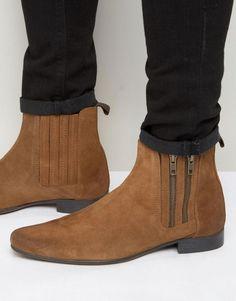 ASOS Chelsea Tan Suede Double Zip Boots