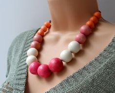 Chunky Wooden Bead Necklace in Cream Pink and by AlixHDesigns, $35.00