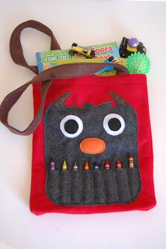 Red Felt Monster Coloring Tote Bag by PuddleWonderfulShop on Etsy Felt Monster, Monster Party, Cute Tote Bags, Reusable Tote Bags, Monster 1st Birthdays, Felt Books, Coloring Books, Colouring, Crazy Kids