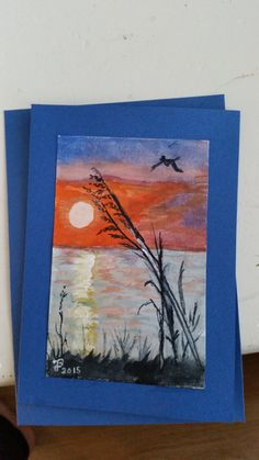 Ameland zonsondergang echte aquarel op kaart