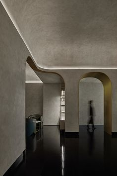 Press kit - Green Massage - Vermilion Zhou Design Group   v2com-newswire Monumental Architecture, Grey Ceiling, Grey Palette, Wooden Screen, Black Floor, Light Crafts, Grey Walls, Ceiling Design, Strip Lighting