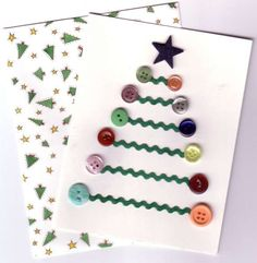 This holiday season hand out these DIY Christmas Cards to your loved ones and tell them how much you care. These Handmade Christmas cards are easy & cheap. Button Christmas Cards, Christmas Buttons, Homemade Christmas Cards, Diy Christmas Gifts, Christmas Baubles, Handmade Christmas Decorations, Christmas Crafts For Kids, Christmas Art, Holiday Crafts