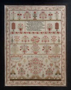 Ann Dale 1827 reproduction sampler by Shakespeare's Peddler  https://stitchandfrog.com/cross-stitch-patterns/ann-dale-1827-sampler