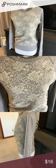 [Maurices] Lace Overlay Sweatshirt Size Small [Maurices] Lace Overlay Sweatshirt Size Small - Beutiful Lace overlay on front of grey sweatshirt! Super comfy and cute!! Maurices Tops Sweatshirts & Hoodies