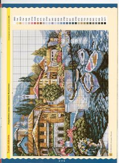 cross stitch row boats in Italy? Cross Stitch Landscape, Red Hat Society, Weaving Patterns, Cross Stitching, Needle Felting, Pixel Art, Needlepoint, Cross Stitch Patterns, Tapestry
