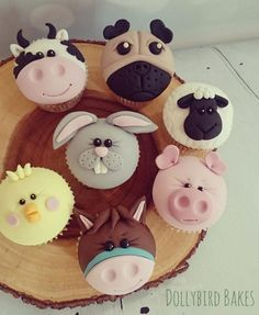 Cute animal cupcakes - cake by Dollybird Bakes - CakesDecor Fondant Cupcakes, Kid Cupcakes, Cupcake Cookies, Fondant Toppers, Valentine Cupcakes, Fondant Bow, Fondant Flowers, Cupcake Tier, Deco Cupcake
