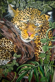 leopard Forest Painting, Jungles, Fantasy, Places, Animals, Art, Art Background, Animales, Animaux