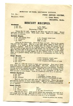Homefront Publication Ministry of Food Southern Division Biscuit Recipes Baking Recipes Uk, Retro Recipes, Old Recipes, Vintage Recipes, Cookbook Recipes, Other Recipes, 1930s Recipe, War Recipe, Wartime Recipes