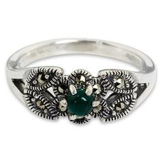 Marcasite cocktail ring, 'Verdant Bud' - Thai Marcasite and Green Agate Cocktail Ring (image 2a)