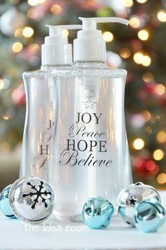 Personalized Christmas soap and hand sanitizer via Amy Huntley (The Idea Room)