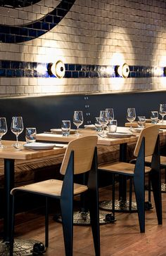 Restaurant I Hotel I Interior I Furniture I Eating I SHED 5 I Round Table & Pressed Glass Lighting by Tom Dixon