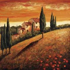 Impressionism Landscape European Landscape Tuscany Italy Art Print featuring the painting Sunset Over Tuscany 1 by Santo De Vita Tuscany Landscape, Landscape Art, Landscape Paintings, Tuscan Art, Stretched Canvas Prints, Painting Inspiration, Impressionism, Fine Art America, Canvas Art