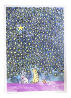 Image of 'Three Friends under the stars' Print by Sarah Lovell Art Handmade Christmas Gifts, Christmas Gift Guide, Small Business Saturday, Three Friends, Lucky Star, Under The Stars, Hand Illustration, Make You Smile, A3