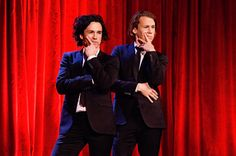 """Ylvis: brothers Vegard and Bård Ylvisåker, better known as Ylvis (from Norway) - sing """"What Does the Fox Say"""""""