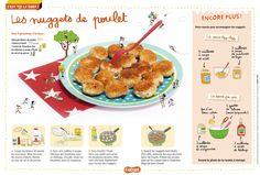 La recette des nuggets de poulet, dans la magazine Astrapi du 1er septembre 2015 (n°843). Une recette facile pour les enfants.
