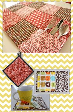 Favorite Sewing Projects Quilted Kitchen Accessories - mug rug, pocket placemat and quilted potholder sewing pattern by Maggie Elizabeth Designs Diy Sewing Projects, Sewing Projects For Beginners, Quilting Projects, Sewing Crafts, Sewing Tips, Sewing Ideas, Quilted Table Runners, Table Runner And Placemats, Quilt Placemats
