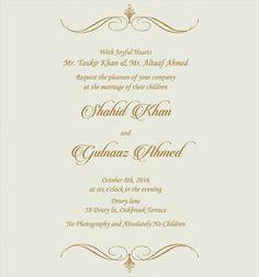 12 Best Traditional Muslim Wedding Card Wordings Images