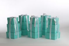 READY TO SHIP Authentic Tiffany Boxes made into 3 Tier Centerpieces, Shower Centerpiece, Breakfast at Tiffany's, Tiffany Blue Decorations