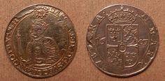 COIN, Sweden, Carl IX, 2 mark, 1607, front side gold plated -- MYNT, Karl IX, 2 mark, 1607. Varit hängd. Åtsidan förgylld.