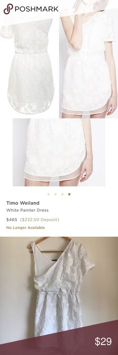 "$465 Timo Weiland White painter dress White silk and cotton blend dress by timo weiland. Size 8. Laying flat measures approximately 18"" pit to pit, 14"" at the elastic waist unstretched and 33"" long from the shoulder. timo weiland Dresses"