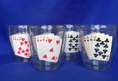 4 VTG Playing Cards Thermal Glasses 1983 Plastic Tumblers Expressive Designs #ExpressiveDesigns