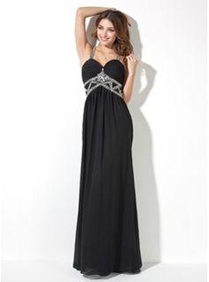 A  Line Princess Sweetheart Floor Length Chiffon Evening Dress With Ruffle Beading