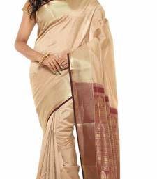 Buy beige Plain Tussar Silk saree with blouse tussar-silk-saree online