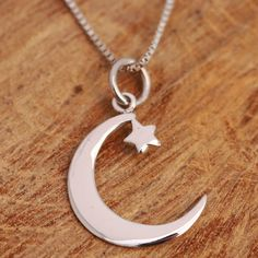 925 Sterling Silver Crescent Moon and Star Pendant Necklace Handcraft w Gift Box #Handmade #PendantandNecklace
