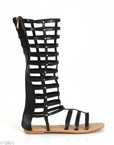 De Blossom Collection Tall Gladiator Sandals in Black PANTEON-1-BLK