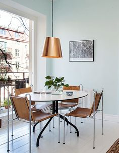 copper light   leather chairs   dining room via @sfgirlbybay