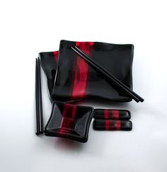 Black and Red Sushi Set  Japanese Dinnerware  by Nostalgianmore