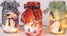Boneco de neve pintado em jarras - Ideias e Receitas