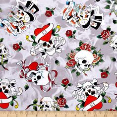 Ed Hardy Love Is True Tossed Skulls Grey from @fabricdotcom  Designed by Ed Hardy and licensed to Quilting Treasures, this cotton print is perfect for quilting, apparel and home decor accents. Colors include black, green, red, blue, purple, orange, grey, yellow and white.
