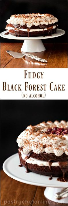 This dark, fudgy Black Forest Cake has cherry juice baked right into the chocolate layers and is filled with swirls of coffee-cherry whipped cream and sour cherries. No alcohol in this one, so the whole family can enjoy it together. This is a great celebr