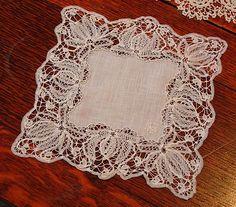 Em's Heart Antique Linens -Antique Linen Branscombe Lace Monogram Handkerchief