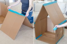Easy DIY Furniture: Hanging Shelves from Cardboard - FashDeco Cardboard Box Playhouse Diy, Cardboard Box Houses, Cardboard Box Crafts, Cardboard Playhouse, Cardboard Furniture, Cardboard Box Ideas For Kids, Simple Playhouse, Playhouse Bed, Cardboard Castle