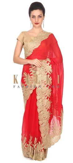 Buy this Red saree with zari and kundan embellished border only on Kalki