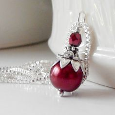 Red Bridesmaid Necklace Red Pearl Pendant Necklace Apple Bridesmaid Jewelry Red and Silver Weddings Beaded Jewelry Sets