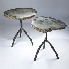 pair of large cyan agate slices on textured 'tree' three leg side tables