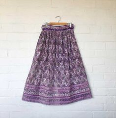 Vintage Indian hand block printed skirt offered by BedouinCo on Etsy.