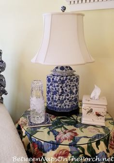 Beautiful Blue and White Chinoiserie Lamp for the Guest Room