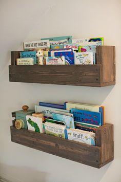 DIY wall shelves/books shelves think Pottery Barn inspired
