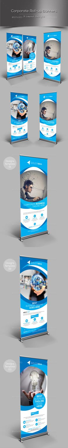 Corporate Rollup Banner by Fully layered Adobe Photoshop 3 Layout Designs 3 Psd File CMYK Color Mode 300 DPI Resolution Size 0 Rollup Banner, Creative Banners, Creative Brochure, Elegant Business Cards, Cool Business Cards, Banner Template, Signage Design, Banner Design, Roll Up Design