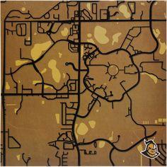 """UCF Knights 12"""" x 12"""" Fine Art Map Print - $39.99"""
